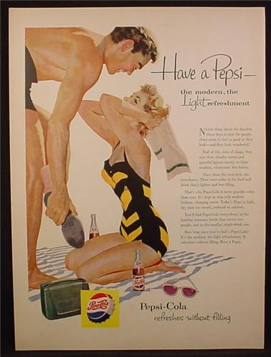 Magazine Ad For Pepsi Pepsi-Cola, Woman In Black & Yellow Striped Bathing Suit, 1954