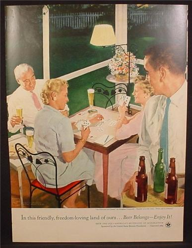 Magazine Ad For Beer Belongs, Number 98, An Evening Of Cards, Douglass Crockwell, 1954