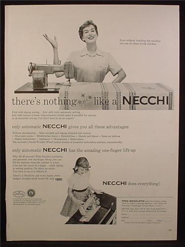 Magazine Ad For Necchi Automatic Sewing Machine, One Finger Lift-Up, 1954