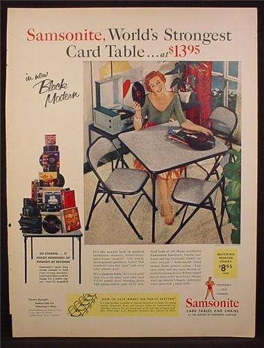 Magazine Ad For Samsonite World's Strongest Card Table, Piled High With Records, 1954