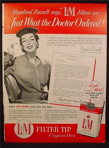 Magazine Ad For L&M Filter Cigarettes, Just What The Doctor Ordered, Rosalind Russell, 1954