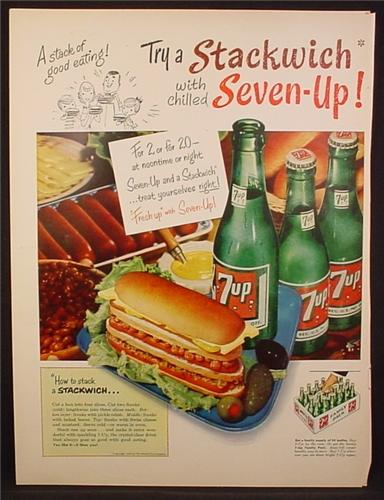Magazine Ad For 7UP Seven-Up, Try A Stackwich, Bottles & 24 Case, 1954
