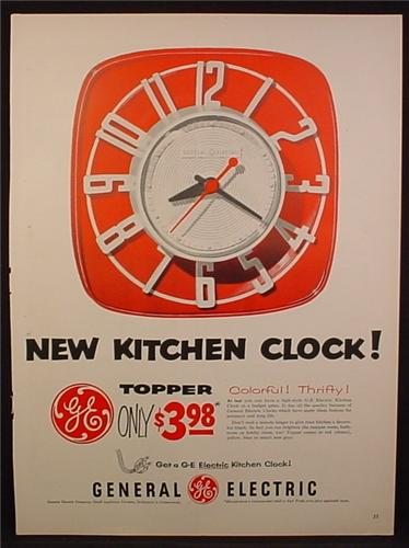 Magazine Ad For GE General Electric New Kitchen Clock, Topper, Colorful, Thrifty, 1954