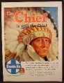 Magazine Ad For Santa Fe railroad, The Chief Is Still The Chief, Native American Indian, 1954