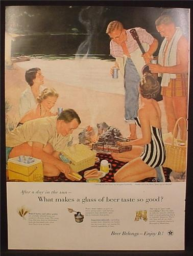 Magazine Ad For Beer Belongs, Number 111, Supper On The Sand, Douglass Crockwell, 1955
