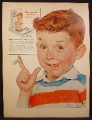 Magazine Ad For Kellogg's Corn Flakes, Norman Rockwell, Boy With String Tied on Finger, 1955