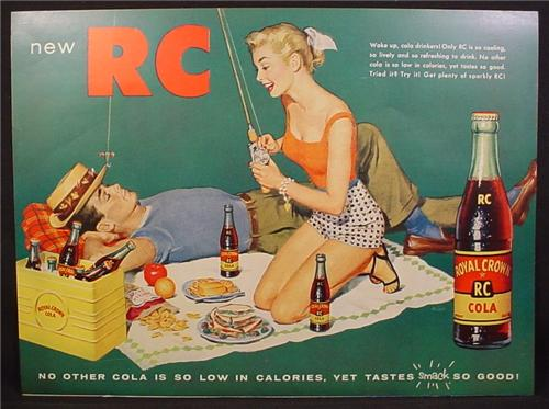 Magazine Ad For RC Royal Crown Cola, Picnic, Cute Girl in Shorts With Fishing Rod , 1955