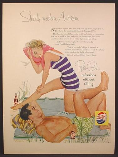 Magazine Ad For Pepsi Pepsi-Cola, Guy & Girl in Blue & White Striped Bathing Suit, 1955