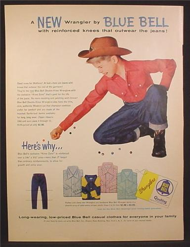 bd5f03513 Magazine Ad For Blue Bell Clothing For Boys, Boy in Cowboy Hat & Wrangler  Jeans 1955