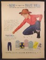 Magazine Ad For Blue Bell Clothing For Boys, Boy in Cowboy Hat & Wrangler Jeans 1955