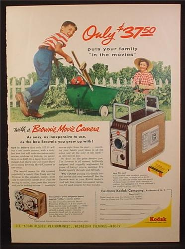 Magazine Ad For Brownie Movie Camera Projector 8mm Boy Mother In Garden 1955 Magazines