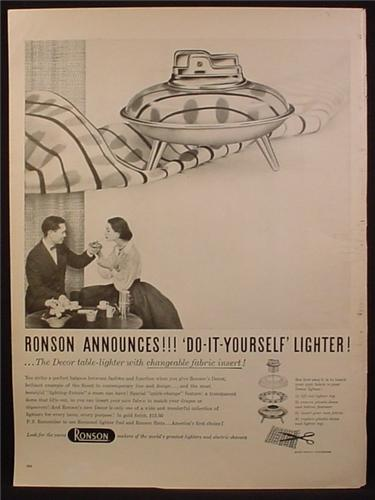 Magazine Ad For Ronson Do-It-Yourself Lighter, Decor Table Lighter, Changeable Fabric Insert 1955