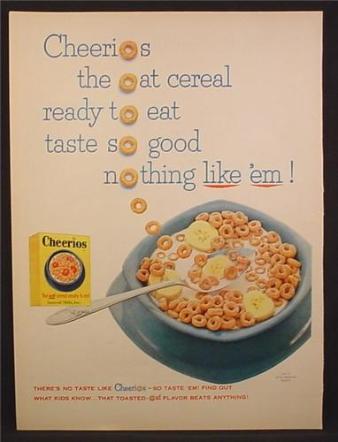 Magazine Ad For General Mills Cheerios Cereal, The Oat Cereal Ready To Eat, 1955