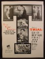 Magazine Ad For Trial, MGM Movie, Glenn Ford, Dorothy Mglure, Poster, 1955