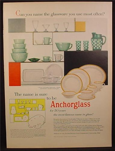 Magazine Ad For Anchorglass, Golden Anniversary Pattern, Green & White Polka Dots, 1955