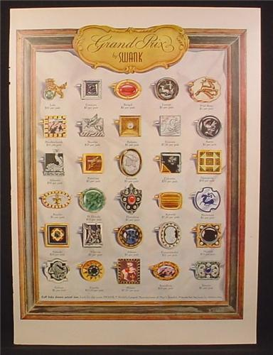 Magazine Ad For Swank Grand Prix Line of Cufflinks, Cuff Links, 36 Different Styles, 1955