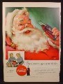 Magazine Ad For Coca-Cola Coke, Santa Claus with Small Bottle, Twin Girls with Case, 1955
