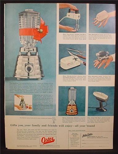 Magazine Ad For Oster Electric Appliances, Osterizer Blender, Stim-U-Lax Junior Virbrator, 1955