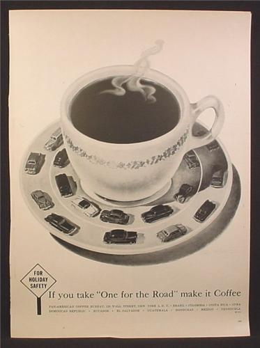 Magazine Ad For Pan-American Coffee Bureau, Take One For The Road, Make It Coffee, 1955