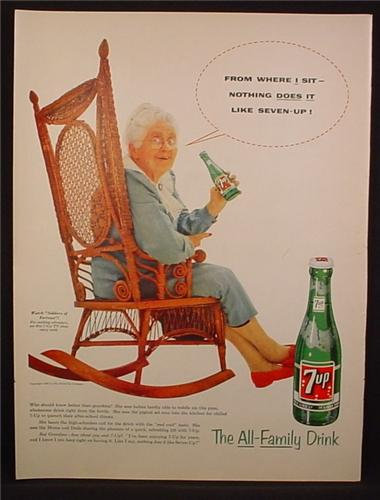 Magazine Ad For 7UP Seven-Up, Senior Woman in Rocking Chair, From Where I Sit, 1955