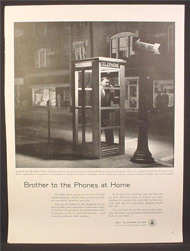 Magazine Ad For Bell Telephone System, Phone Booth Lit Up At Night, 1955