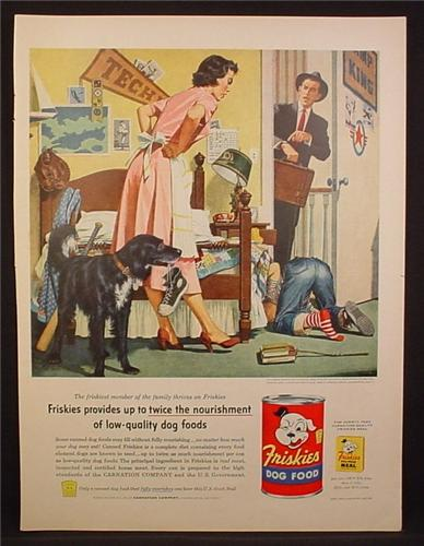 Magazine Ad For Friskies Dog Food, Boy Searches for Sneaker Under The Bed, Dog Has It, 1955