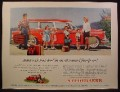 Magazine Ad For Studebaker Red Station Wagon Car, Large Family with Suitcases, 1955