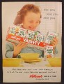 Magazine Ad For Kellogg's Cereal Variety Pack, Girl With Pack, For You and You And You, 1955