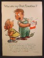 Magazine Ad For Post Toasties Cereal, Boy With Empty Box & Girl With Spoon Behind Back, 1955