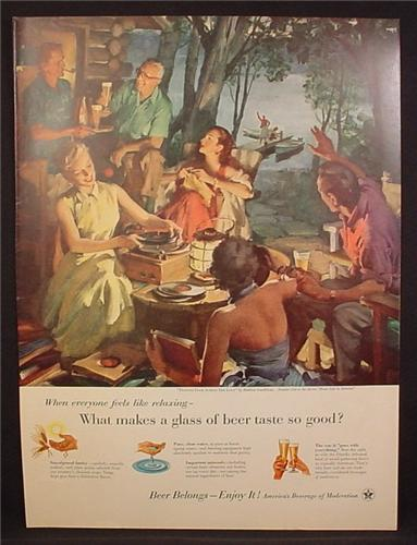 Magazine Ad For Beer Belongs Number 110 Friends From Across The Lake, Haddon Sundblom 1955