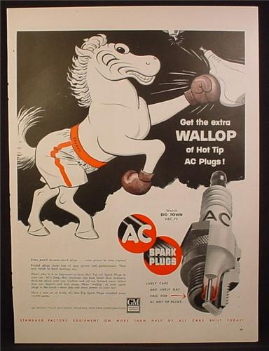 Magazine Ad For AC Spark Plugs, Horse in Boxing Shorts & Gloves, Extra Wallop, 1955