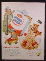 Magazine Ad For Post Sugar Crisp Cereal, 3 Bears with Forklift, Cart, Train Conductor, 1955