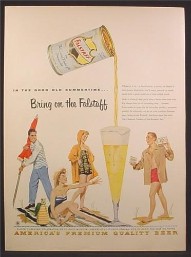 Magazine Ad For Falstaff Beer, 2 Couples On The Beach Bring On The Falstaff, 1955