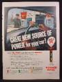 Magazine Ad For Texaco Dealers Service Station, Gas Pumps, Power For Your Car, 1956