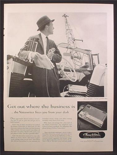 Magazine Ad For Thomas A Edison Voicewriter, Portable Dictation, 1956
