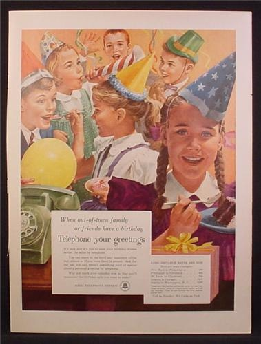 Magazine Ad For Bell Telephone System, Kid's Birthday Party, 1956