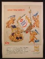 Magazine Ad For Post Sugar Crisp Cereal, 3 Bears in Sailor Hats, 1956