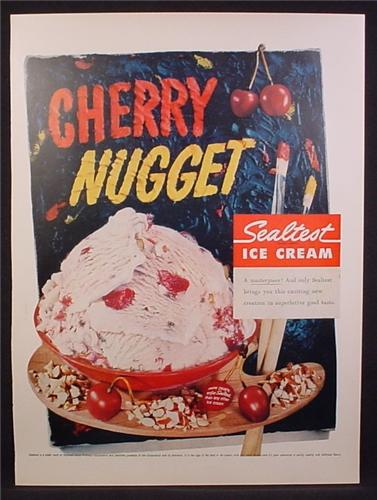 Magazine Ad For Sealtest Cherry Nugget Flavor Ice Cream, 1956