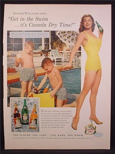 Magazine Ad For Canada Dry True Fruit Black Cherry Orange, Ginger Ale, Esther Williams 1956