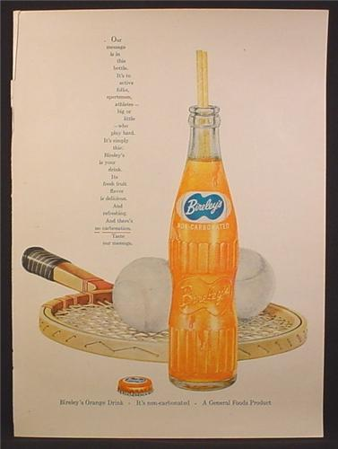 Magazine Ad For Bireley's Orange Drink, Soft Drink Bottle, Tennis Racquet & Balls, 1956