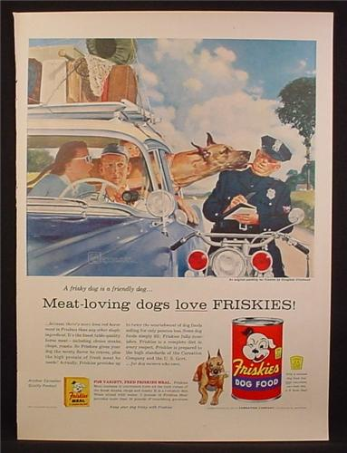 Magazine Ad For Friskies Dog Food, Great Dane Licks Motorcycle Cop, 1956
