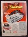 Magazine Ad For Sunbeam Steam or Dry Iron, Cushion Of Rolling Steam, 1956