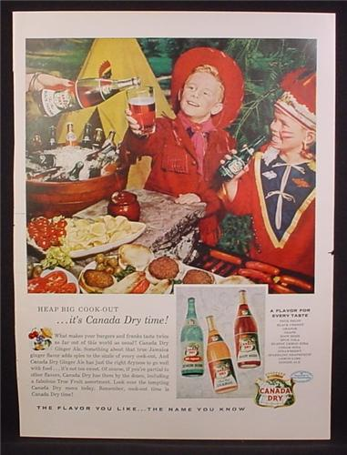 Magazine Ad For Canada Dry, lemon Soda, Root Beer, Kids In Cowboy & Indian Costumes, 1956