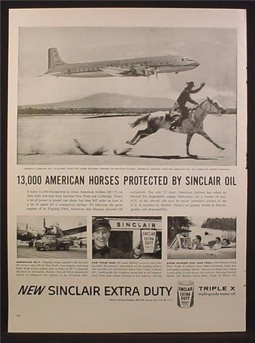 Magazine Ad For Sinclair Extra Duty Triplex X Motor Oil, American Airlines DC-7 Plane, 1956