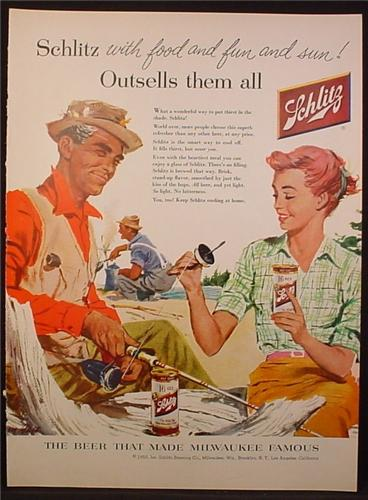 Magazine Ad For Schlitz Beer, Woman Helps a Man Add Fishing Line to His Reel, 1956
