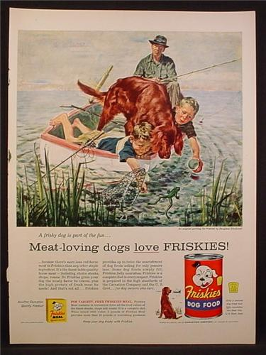 Magazine Ad For Friskies Dog Food,  Setter Helps Kids Catch Frogs, Douglass Crockwell, 1956
