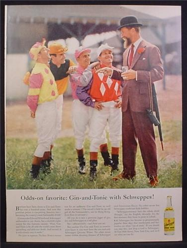 Magazine Ad For Schweppes Quinine Water, Man in Bowler Hat with 4 Jockeys 1956