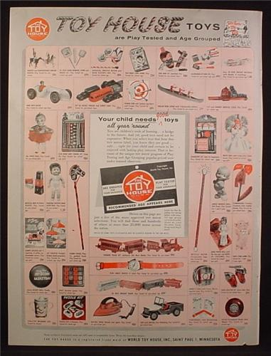 Magazine Ad For Toy House Toys, Duncan Yo-Yo, 39 Toys Pictured, 1956