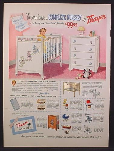 Magazine Ad For Thayer Baby Furniture for Nursery, Cribs, Strollers, High Chair, 1956