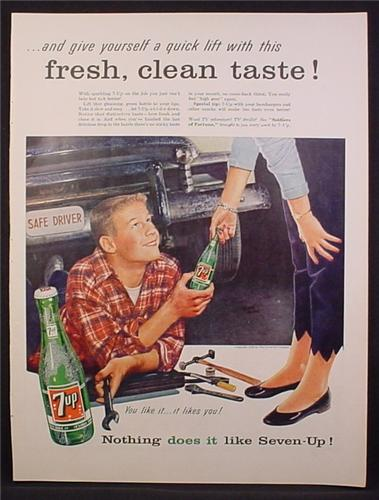 Magazine Ad For 7UP Seven-UP, Teen Working On His Car, Girl Hands Him A Bottle, 1956
